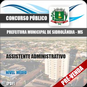 Apostila Pref Sidrolândia MS 2018 Assistente Administrativo