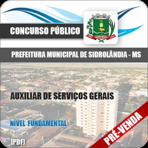 Apostila Pref Sidrolândia MS 2018 Auxiliar de Serviços Gerais