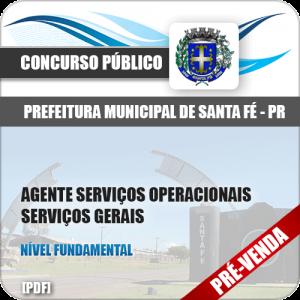 Apostila Pref Santa Fé PR 2018 Agente Serviços Gerais