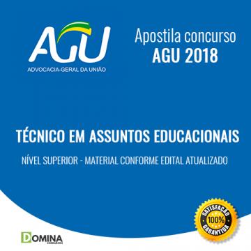 Apostila AGU 2018 Técnico em Assuntos Educacionais
