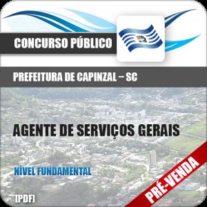 Apostila Pref Capinzal SC 2019 Agente de Serviços Gerais