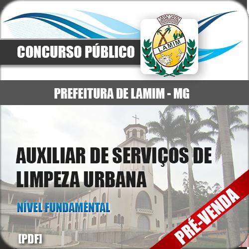 Apostila Pref Lamim MG 2019 Auxiliar Serviços Limpeza Urbana