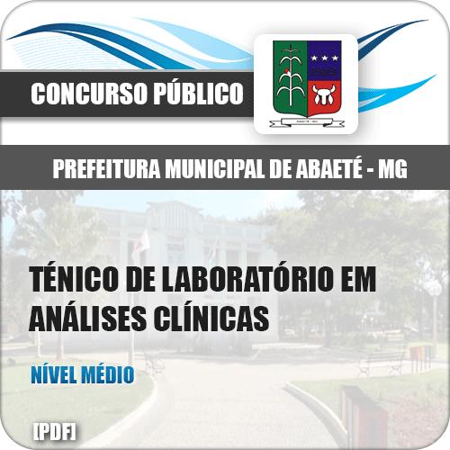Apostila Prefeitura Abaeté MG 2019 Técnico de Laboratório