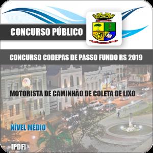 CODEPAS 2019 Motorista Caminhão Coleta De Lixo