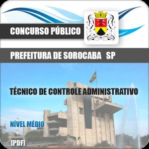 Apostila Sorocaba SP 2019 Técnico de Controle Administrativo