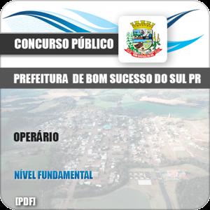 Apostila Concurso Pref Bom Sucesso do Sul PR 2019 Operário