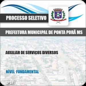 Apostila Seletivo Pref Ponta Porã MS 2019 Auxiliar Serviços Diversos