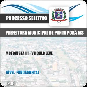 Apostila Seletivo Pref Ponta Porã MS 2019 Motorista III Veículo Leve