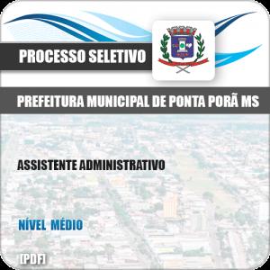 Apostila Seletivo Pref Ponta Porã MS 2019 Assistente Administrativo