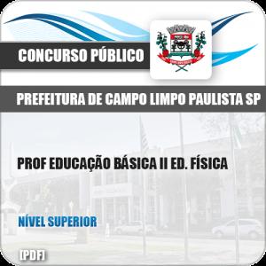 Apostila Pref Campo Limpo Paulista SP 2019 Prof II Ed. Física