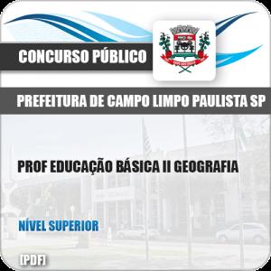 Apostila Pref Campo Limpo Paulista SP 2019 Prof II Geografia
