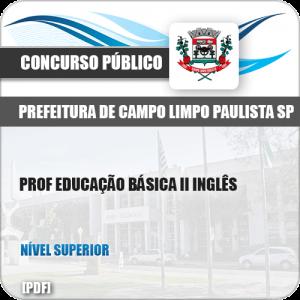 Apostila Pref Campo Limpo Paulista SP 2019 Prof II Inglês