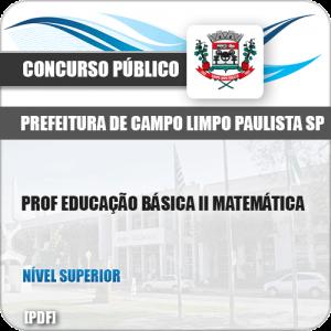 Apostila Pref Campo Limpo Paulista SP 2019 Prof II Matemática