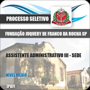 Apostila Franco da Rocha SP 2020 Assistente Administrativo III SEDE