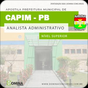 Apostila Pref de Capim PB 2020 Analista Administrativo