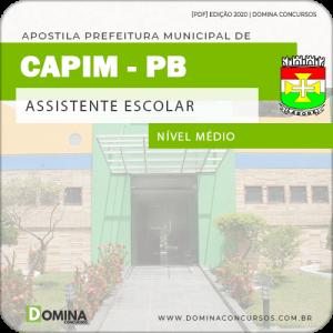 Apostila Concurso Pref de Capim PB 2020 Assistente Escolar