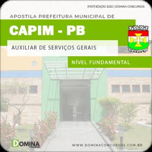 Apostila Pref Capim PB 2020 Auxiliar de Serviços Gerais