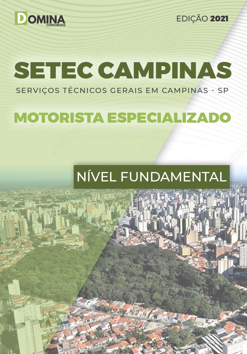 Apostila SETEC Campinas SP 2021 Motorista Especializado