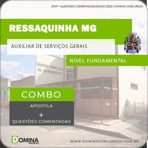 Apostila Câmara Ressaquinha MG 2020 Auxiliar de Serviços Gerais