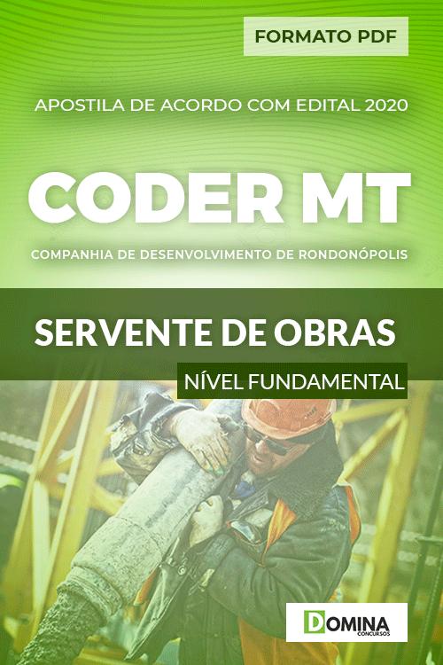 Apostila Concurso Público CODER MT 2020 Servente de Obras