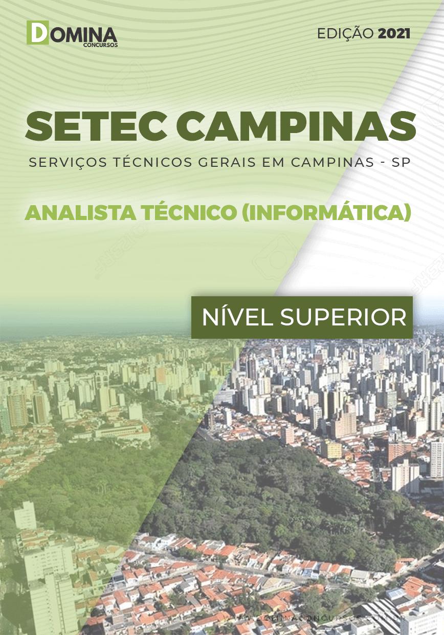 Apostila SETEC Campinas SP 2021 Analista Técnico Informática