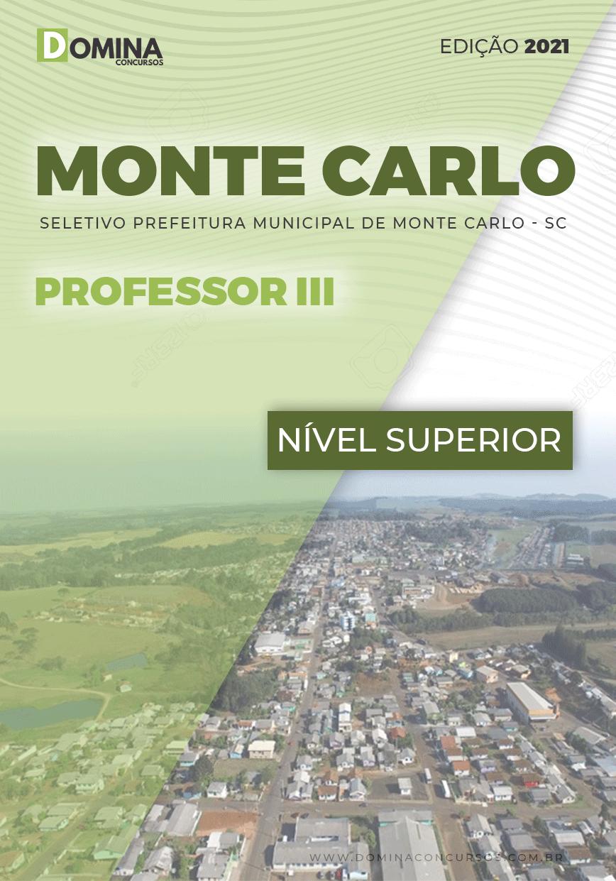 Apostila Seletivo Pref Monte Carlo SC 2021 Professor III