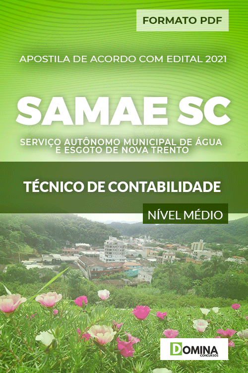 Apostila SAMAE Nova Trento SC 2021 Técnico Contabilidade