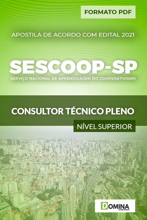Apostila Seletivo SESCOOP SP 2021 Consultor Técnico Pleno