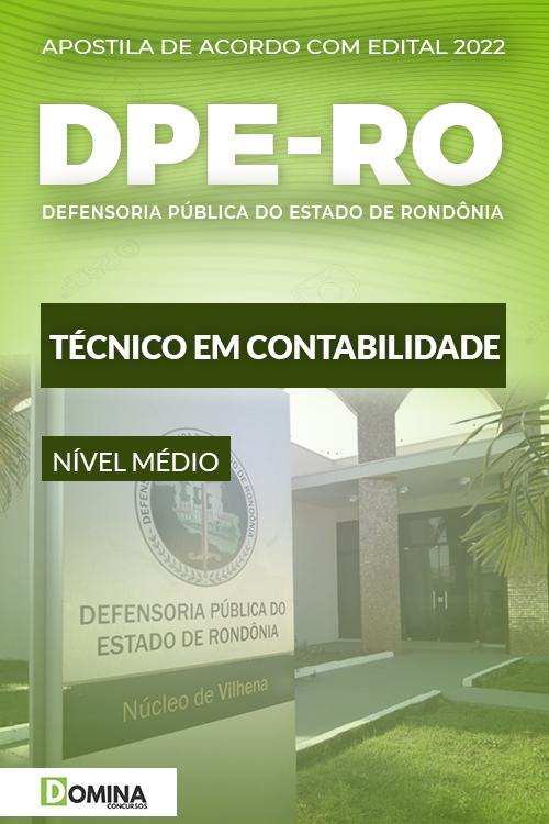 Apostila Concurso DPE RO 2022 Técnico em Contabilidade